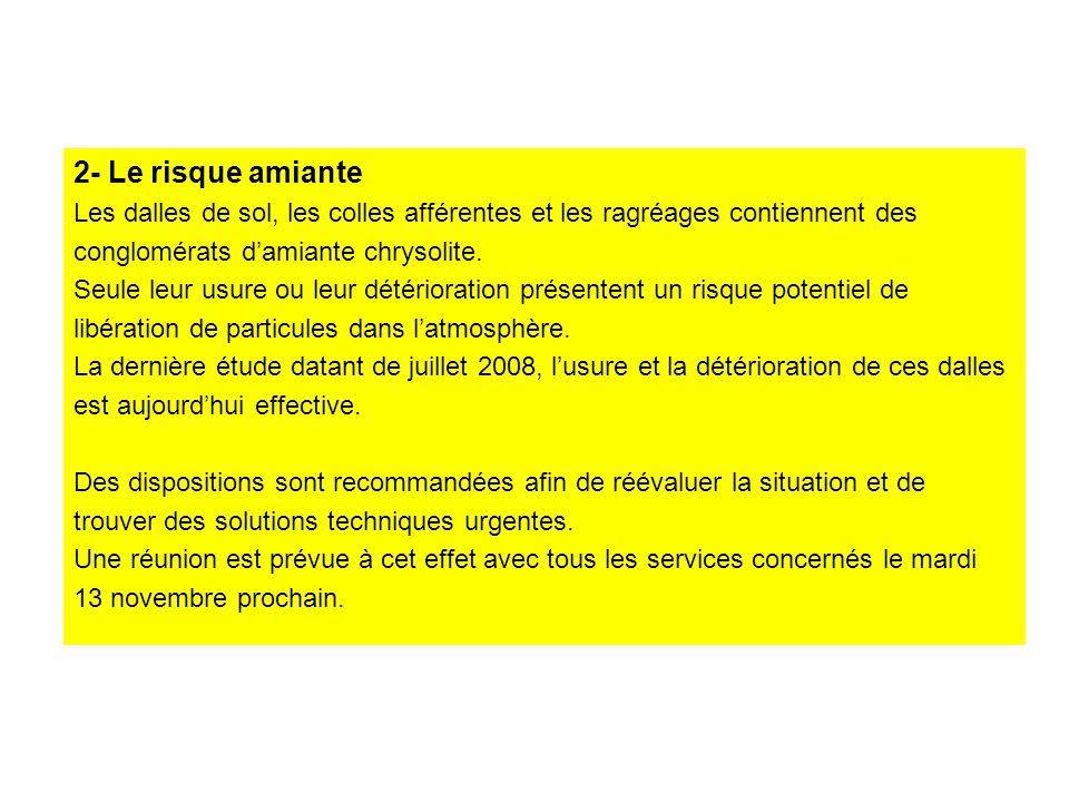 2- Le risque amiante Les dalles de sol, les colles afférentes et les ragréages contiennent des conglomérats damiante chrysolite.