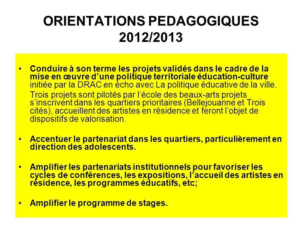 ORIENTATIONS PEDAGOGIQUES 2012/2013 Conduire à son terme les projets validés dans le cadre de la mise en œuvre dune politique territoriale éducation-culture initiée par la DRAC en écho avec La politique éducative de la ville.