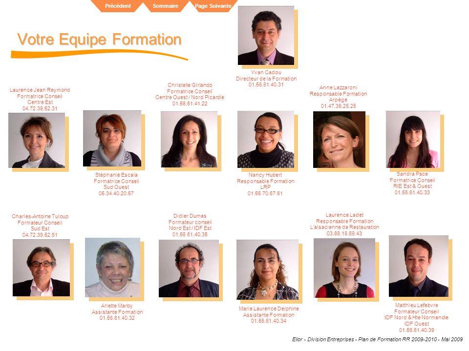Elior - Division Entreprises - Plan de Formation RR 2009-2010 - Mai 2009 SommairePrécédentPage Suivante Votre Equipe Formation Laurence Ladet Responsa