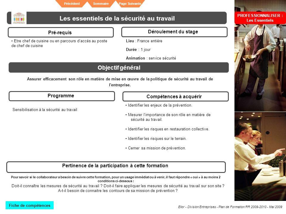 Elior - Division Entreprises - Plan de Formation RR 2009-2010 - Mai 2009 SommairePrécédentPage Suivante Les essentiels de la sécurité au travail Pré-r