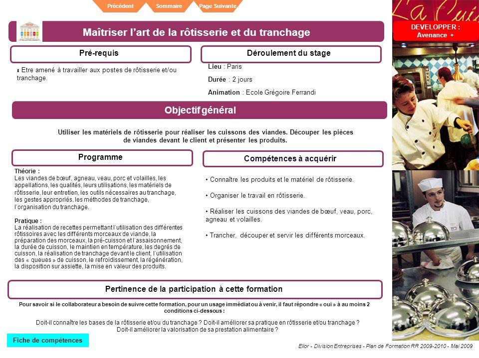 Elior - Division Entreprises - Plan de Formation RR 2009-2010 - Mai 2009 SommairePrécédentPage Suivante Maîtriser lart de la rôtisserie et du tranchag