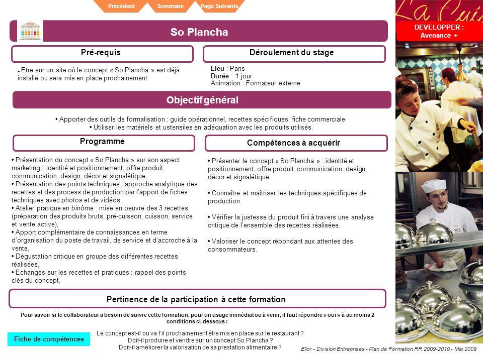 Elior - Division Entreprises - Plan de Formation RR 2009-2010 - Mai 2009 SommairePrécédentPage Suivante So Plancha Pré-requisDéroulement du stage Obje