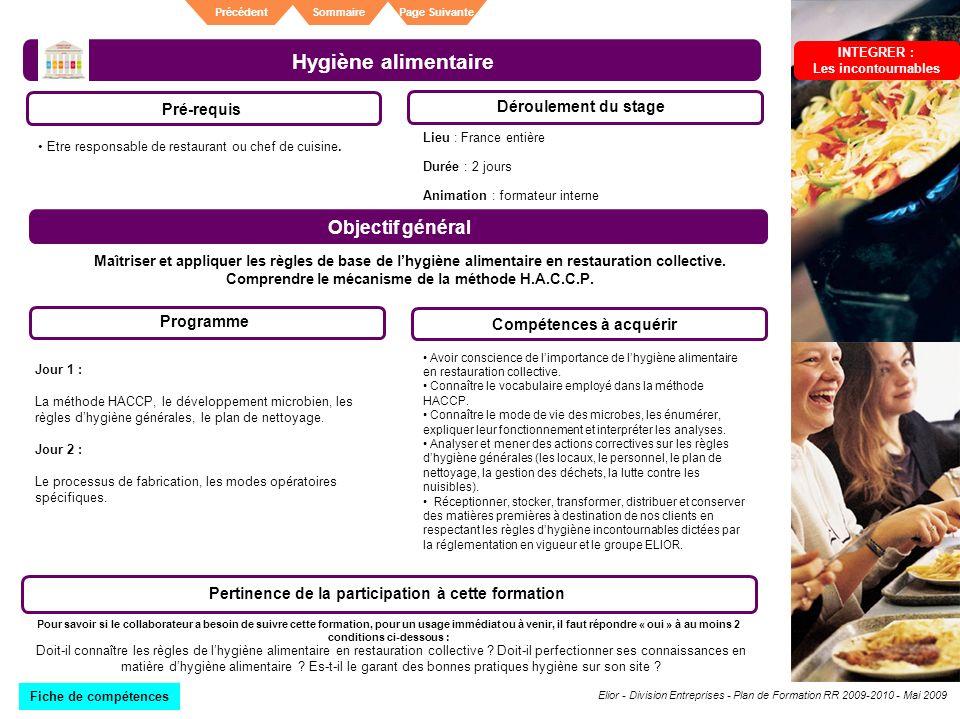Elior - Division Entreprises - Plan de Formation RR 2009-2010 - Mai 2009 SommairePrécédentPage Suivante Hygiène alimentaire Pré-requis Déroulement du