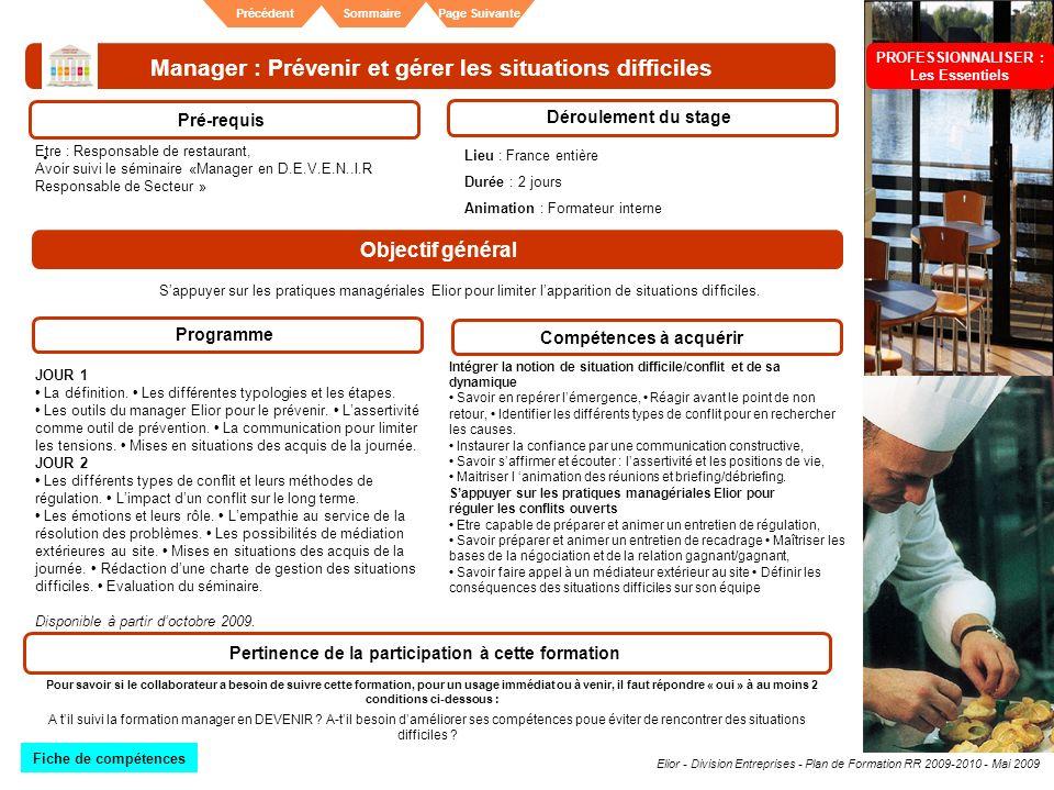 Elior - Division Entreprises - Plan de Formation RR 2009-2010 - Mai 2009 SommairePrécédentPage Suivante Manager : Prévenir et gérer les situations dif