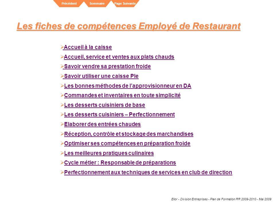 Elior - Division Entreprises - Plan de Formation RR 2009-2010 - Mai 2009 SommairePrécédentPage Suivante Les fiches de compétences Employé de Restauran