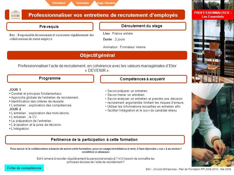 Elior - Division Entreprises - Plan de Formation RR 2009-2010 - Mai 2009 SommairePrécédentPage Suivante Professionnaliser vos entretiens de recrutemen