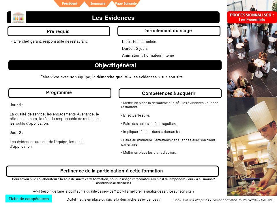 Elior - Division Entreprises - Plan de Formation RR 2009-2010 - Mai 2009 SommairePrécédentPage Suivante Les Evidences Pré-requis Déroulement du stage