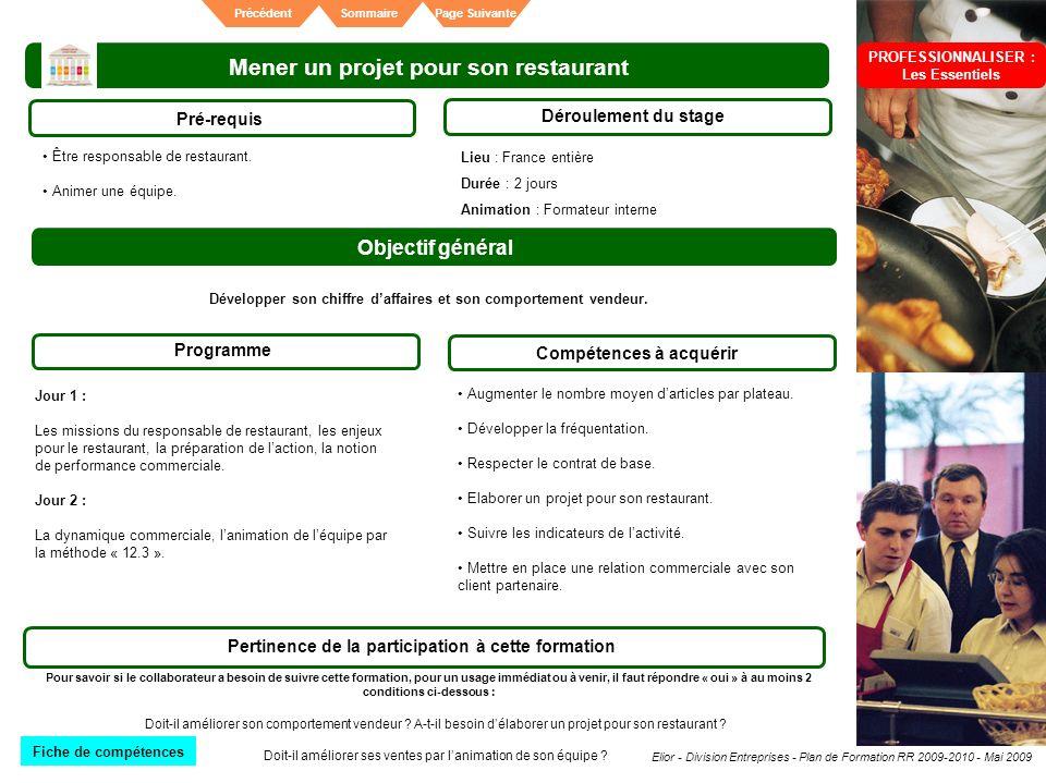 Elior - Division Entreprises - Plan de Formation RR 2009-2010 - Mai 2009 SommairePrécédentPage Suivante Mener un projet pour son restaurant Pré-requis