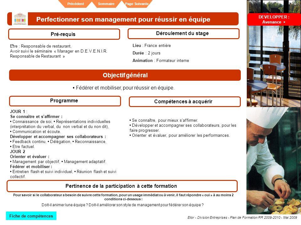 Elior - Division Entreprises - Plan de Formation RR 2009-2010 - Mai 2009 SommairePrécédentPage Suivante Perfectionner son management pour réussir en é