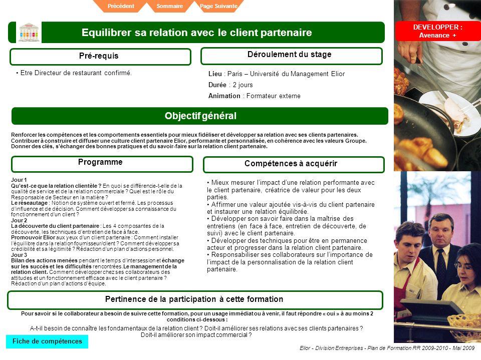 Elior - Division Entreprises - Plan de Formation RR 2009-2010 - Mai 2009 SommairePrécédentPage Suivante Equilibrer sa relation avec le client partenai