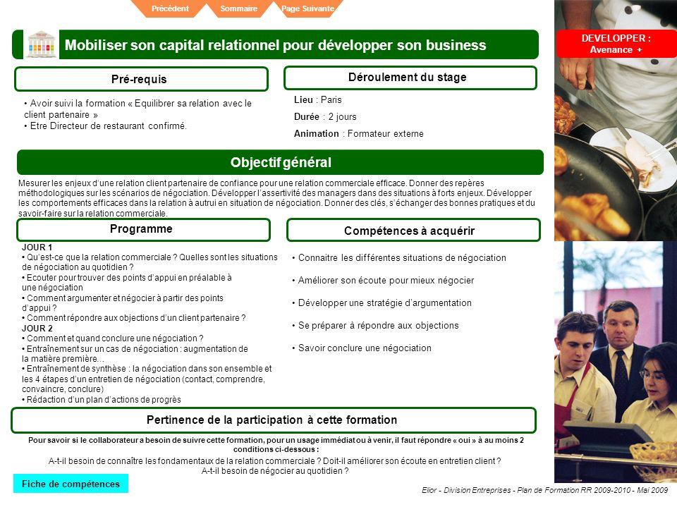 Elior - Division Entreprises - Plan de Formation RR 2009-2010 - Mai 2009 SommairePrécédentPage Suivante Mobiliser son capital relationnel pour dévelop