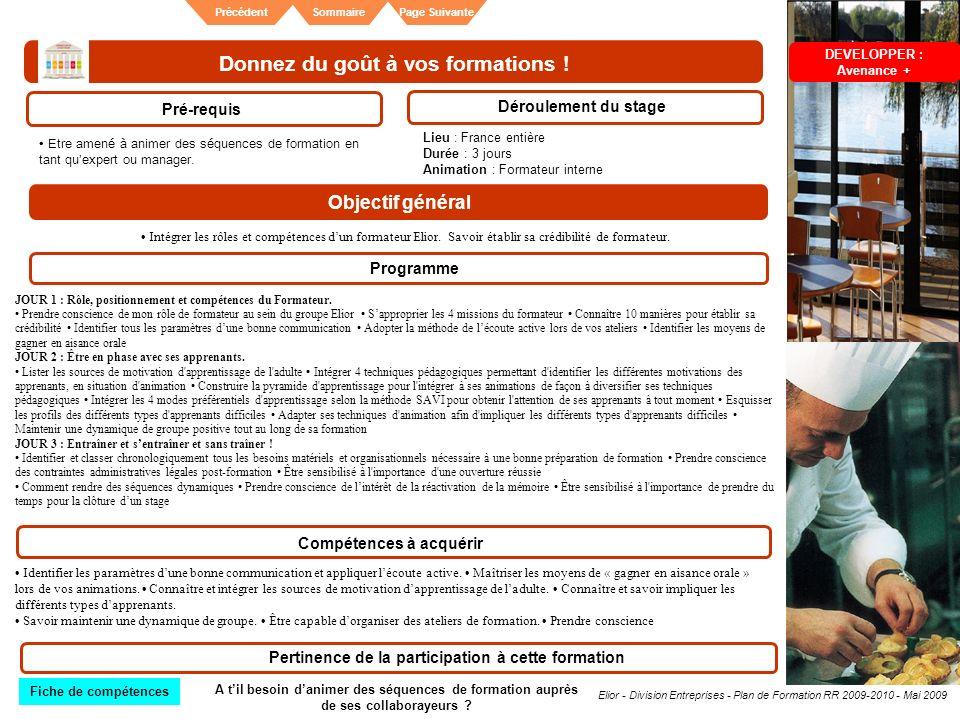 Elior - Division Entreprises - Plan de Formation RR 2009-2010 - Mai 2009 SommairePrécédentPage Suivante Donnez du goût à vos formations ! Pré-requis D