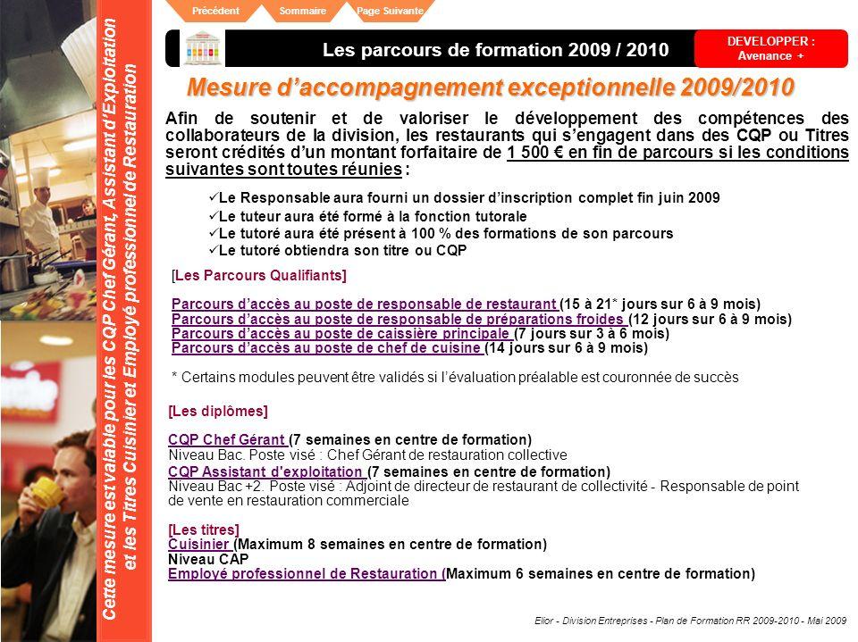 Elior - Division Entreprises - Plan de Formation RR 2009-2010 - Mai 2009 SommairePrécédentPage Suivante Mesure daccompagnement exceptionnelle 2009/201