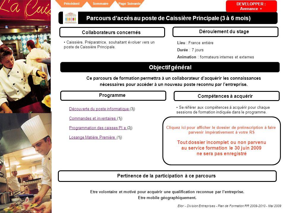 Elior - Division Entreprises - Plan de Formation RR 2009-2010 - Mai 2009 SommairePrécédentPage Suivante Parcours daccès au poste de Caissière Principa