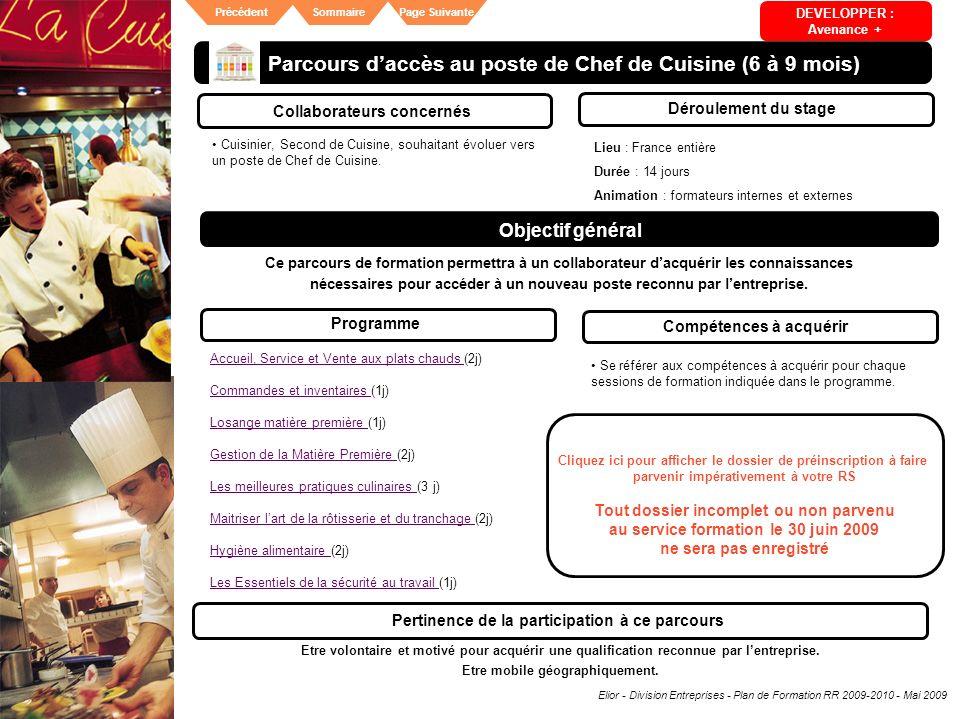 Elior - Division Entreprises - Plan de Formation RR 2009-2010 - Mai 2009 SommairePrécédentPage Suivante Parcours daccès au poste de Chef de Cuisine (6