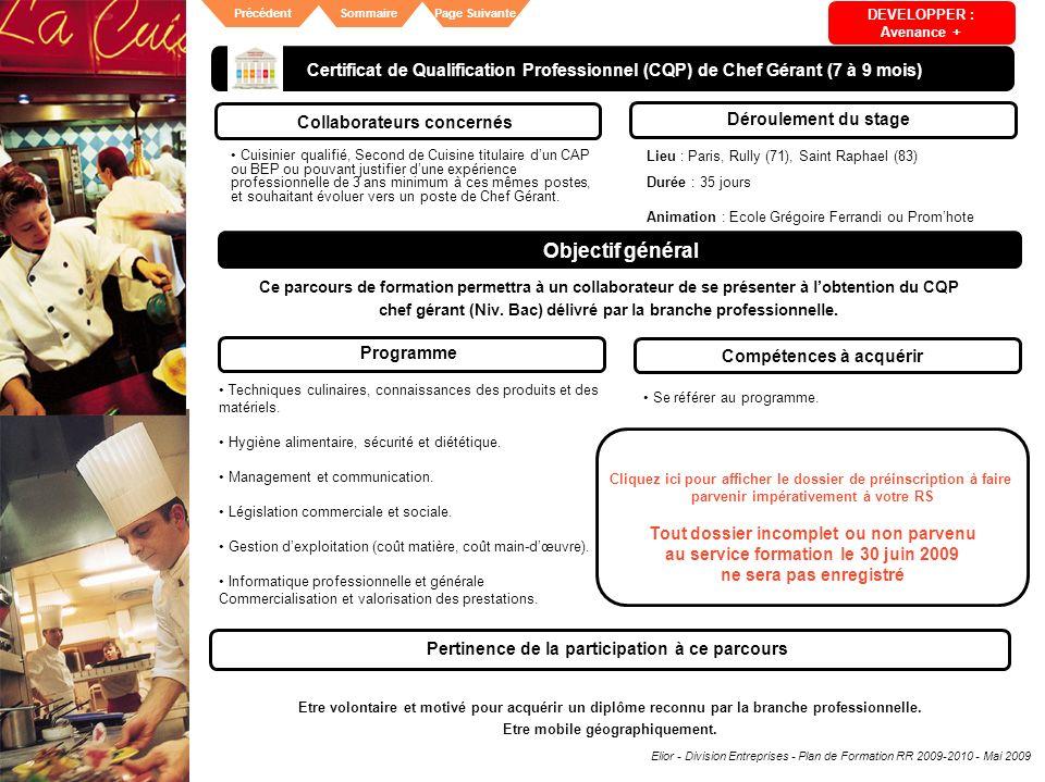 Elior - Division Entreprises - Plan de Formation RR 2009-2010 - Mai 2009 SommairePrécédentPage Suivante Certificat de Qualification Professionnel (CQP