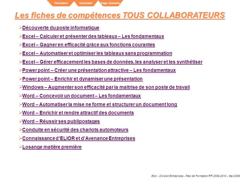 Elior - Division Entreprises - Plan de Formation RR 2009-2010 - Mai 2009 SommairePrécédentPage Suivante Les fiches de compétences TOUS COLLABORATEURS