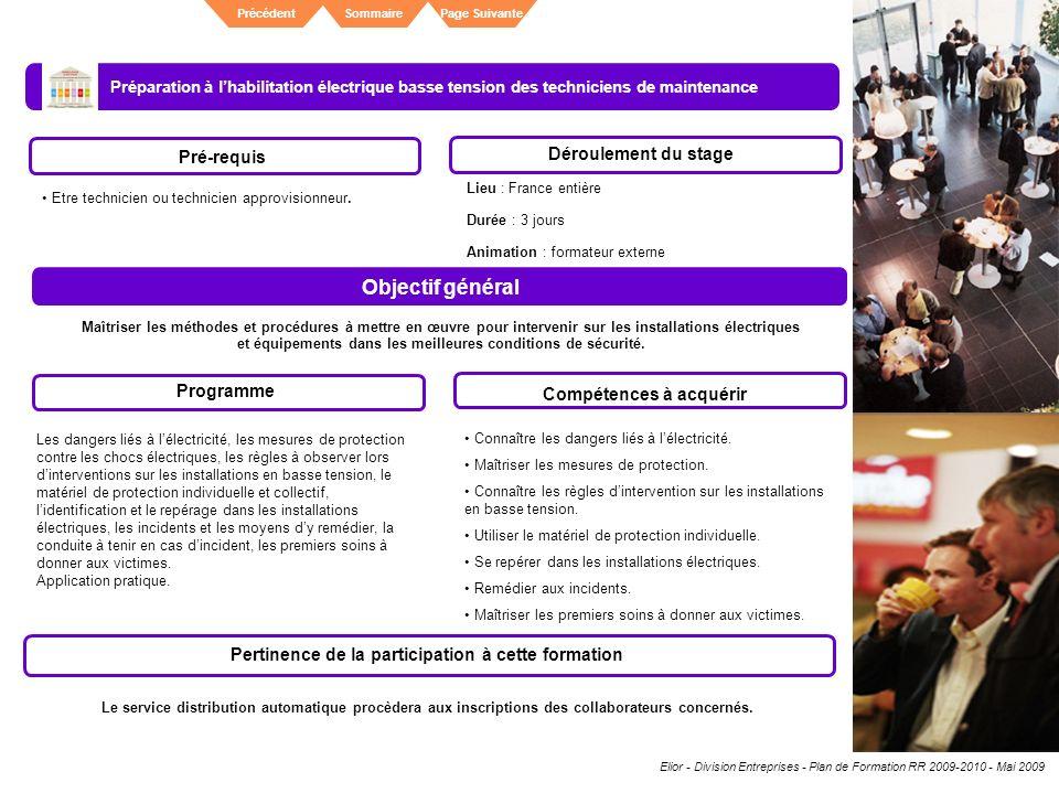 Elior - Division Entreprises - Plan de Formation RR 2009-2010 - Mai 2009 SommairePrécédentPage Suivante Préparation à lhabilitation électrique basse t