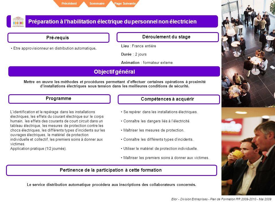 Elior - Division Entreprises - Plan de Formation RR 2009-2010 - Mai 2009 SommairePrécédentPage Suivante Préparation à lhabilitation électrique du pers