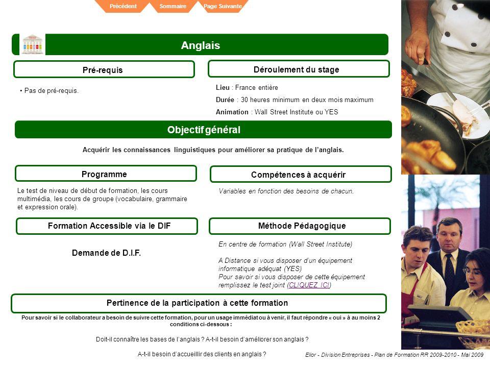Elior - Division Entreprises - Plan de Formation RR 2009-2010 - Mai 2009 SommairePrécédentPage Suivante Anglais Pré-requis Déroulement du stage Object