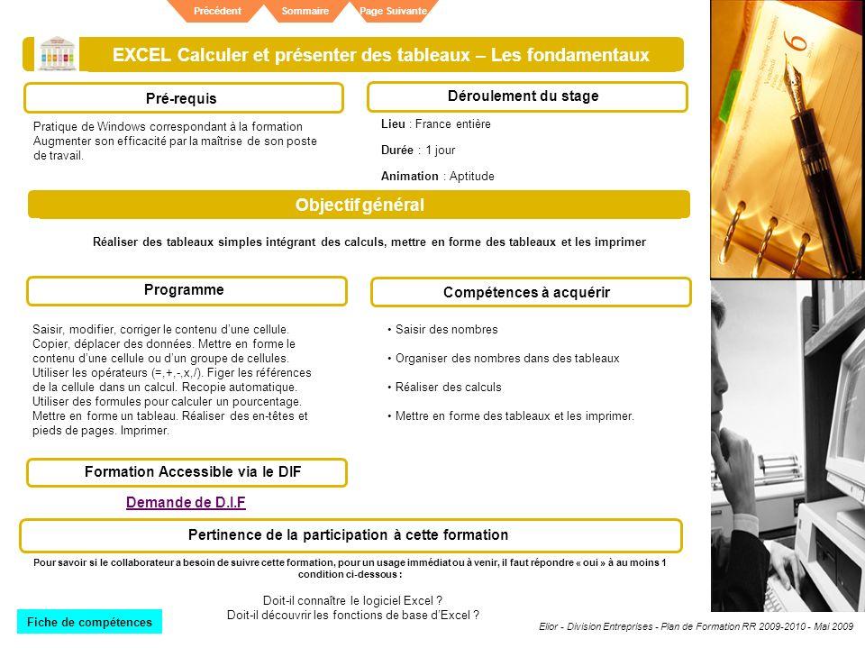 Elior - Division Entreprises - Plan de Formation RR 2009-2010 - Mai 2009 SommairePrécédentPage Suivante EXCEL Calculer et présenter des tableaux – Les