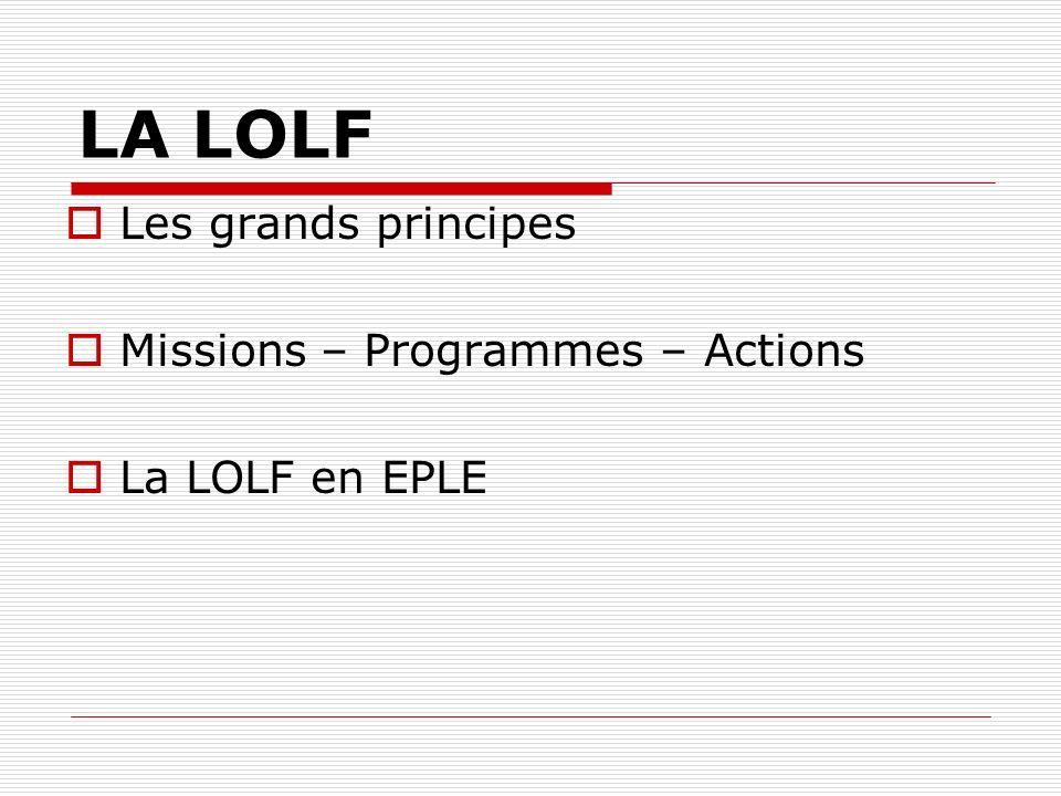 LA LOLF Les grands principes Missions – Programmes – Actions La LOLF en EPLE