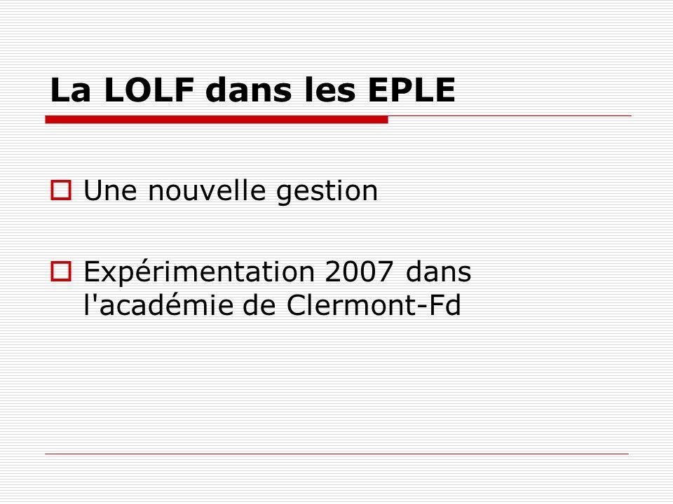 La LOLF dans les EPLE Une nouvelle gestion Expérimentation 2007 dans l'académie de Clermont-Fd