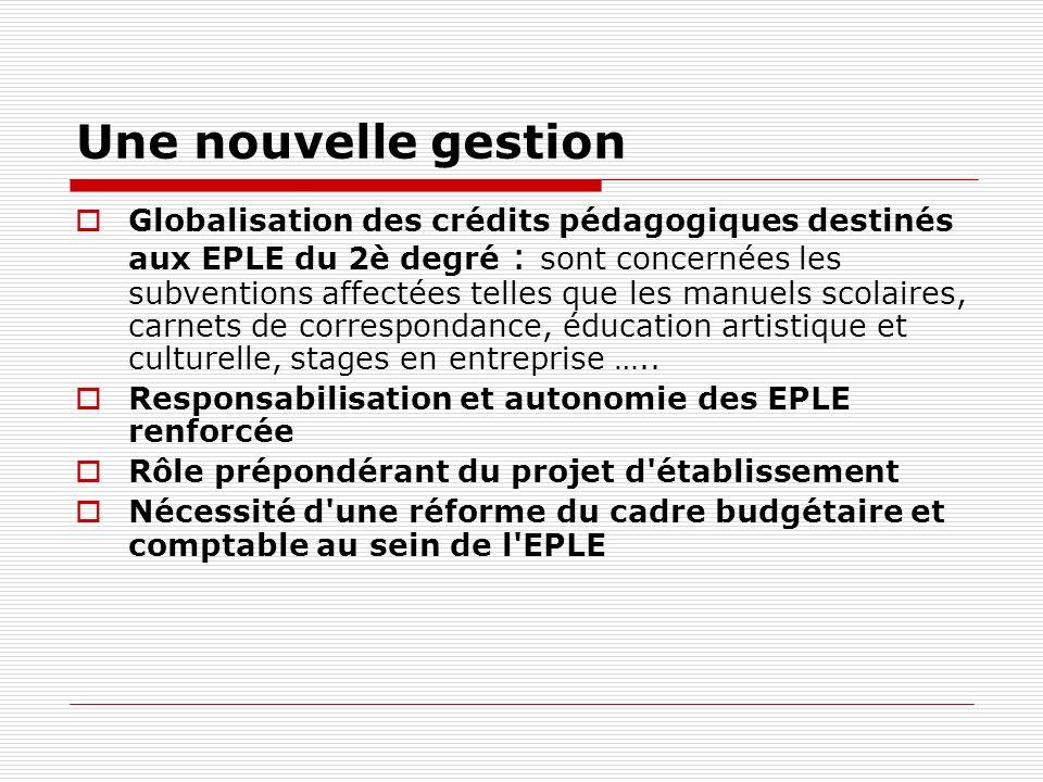 Une nouvelle gestion Globalisation des crédits pédagogiques destinés aux EPLE du 2è degré : sont concernées les subventions affectées telles que les m