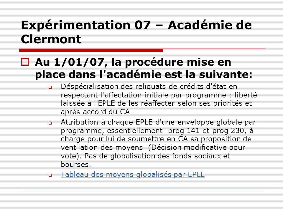Expérimentation 07 – Académie de Clermont Au 1/01/07, la procédure mise en place dans l'académie est la suivante: Déspécialisation des reliquats de cr