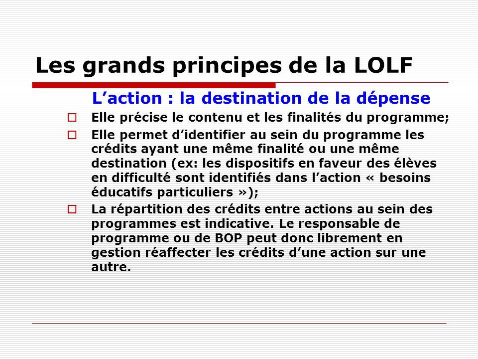 Les grands principes de la LOLF Laction : la destination de la dépense Elle précise le contenu et les finalités du programme; Elle permet didentifier