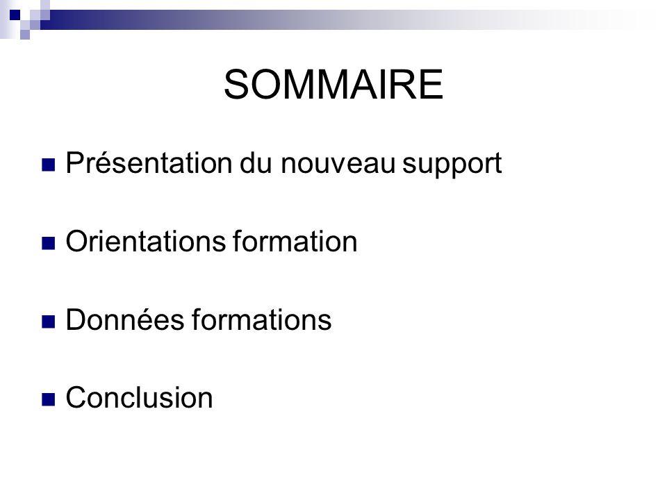 SOMMAIRE Présentation du nouveau support Orientations formation Données formations Conclusion
