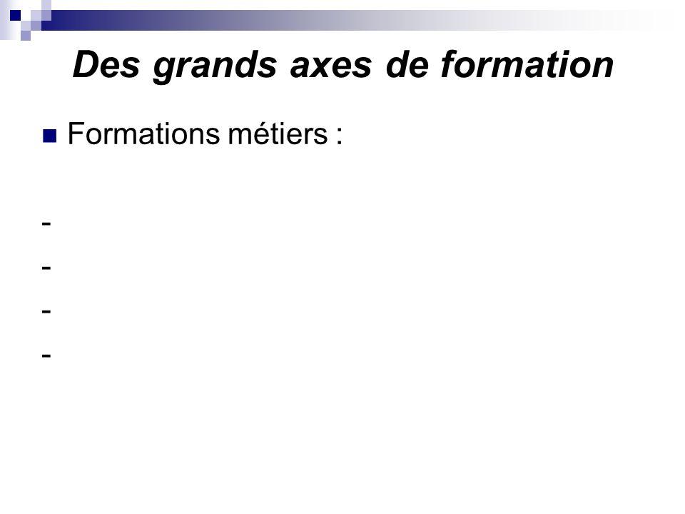 Des grands axes de formation Formations métiers : -