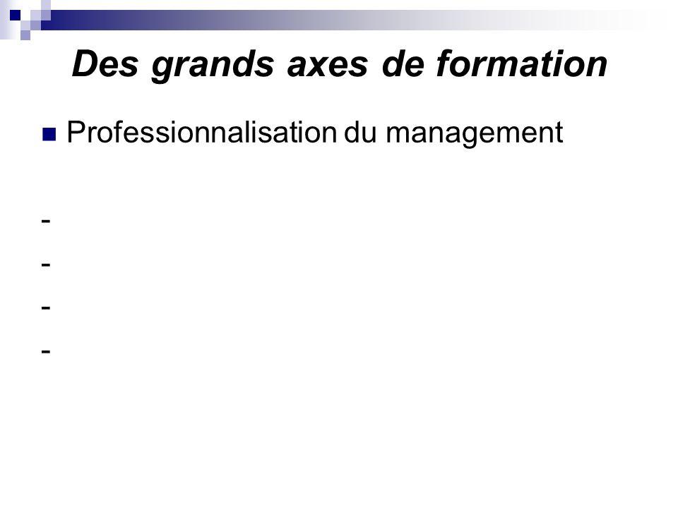 Des grands axes de formation Professionnalisation du management -