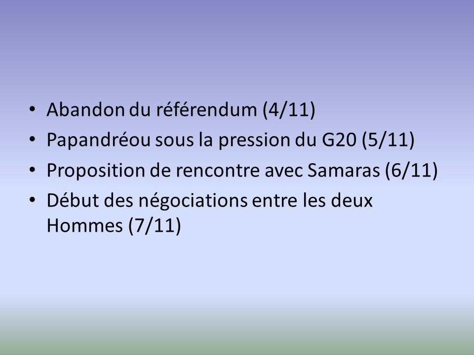 Abandon du référendum (4/11) Papandréou sous la pression du G20 (5/11) Proposition de rencontre avec Samaras (6/11) Début des négociations entre les deux Hommes (7/11)