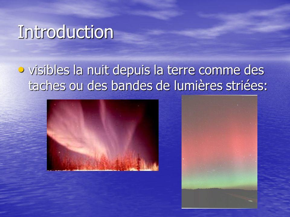 Introduction visibles la nuit depuis la terre comme des taches ou des bandes de lumières striées: visibles la nuit depuis la terre comme des taches ou