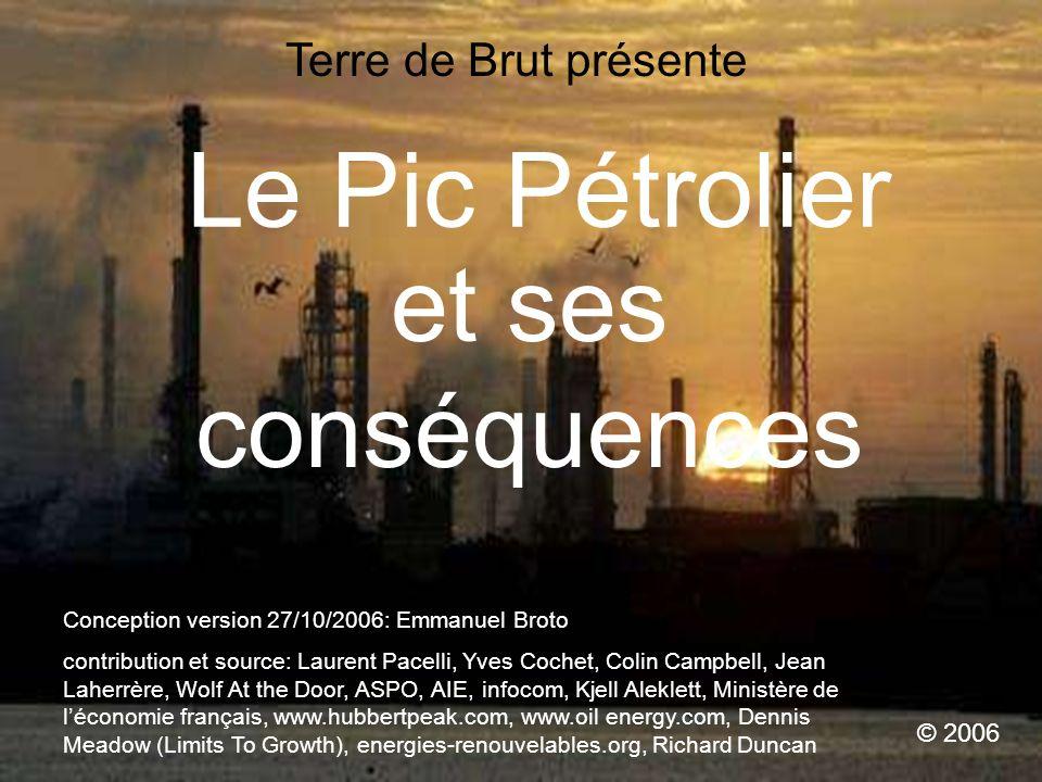 Le Pic Pétrolier et ses conséquences © 2006 Conception version 27/10/2006: Emmanuel Broto contribution et source: Laurent Pacelli, Yves Cochet, Colin