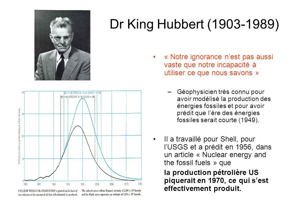 Dr King Hubbert (1903-1989) « Notre ignorance nest pas aussi vaste que notre incapacité à utiliser ce que nous savons » –Géophysicien très connu pour