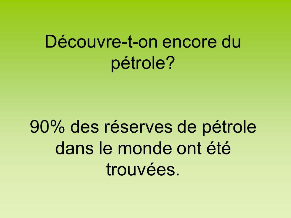 Découvre-t-on encore du pétrole? 90% des réserves de pétrole dans le monde ont été trouvées.