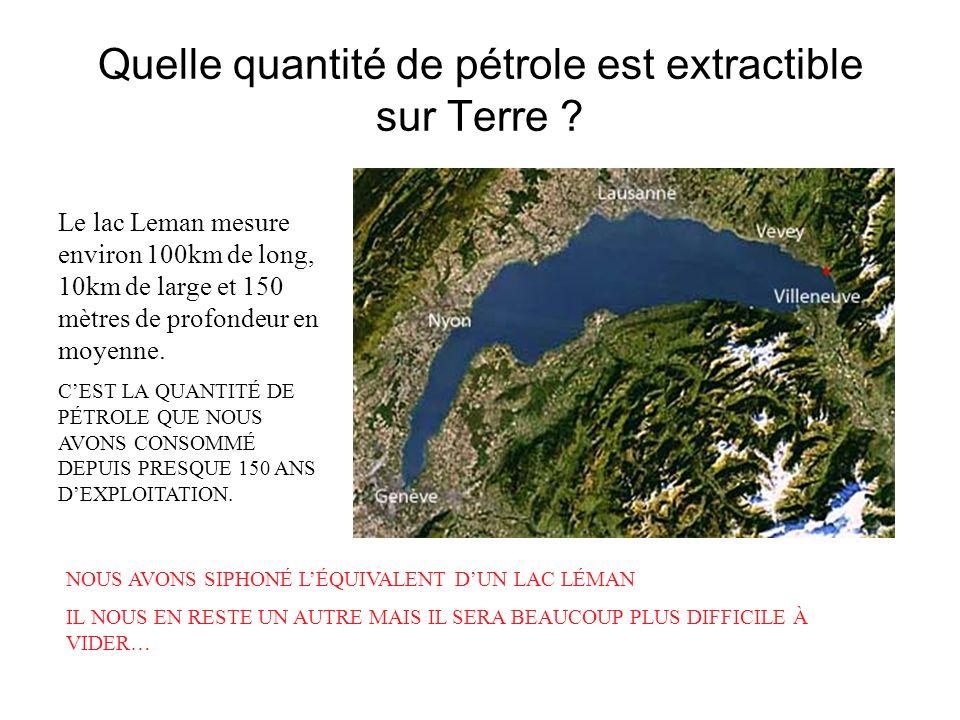Quelle quantité de pétrole est extractible sur Terre ? Le lac Leman mesure environ 100km de long, 10km de large et 150 mètres de profondeur en moyenne