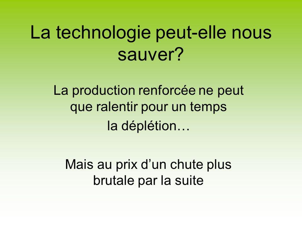 La technologie peut-elle nous sauver? La production renforcée ne peut que ralentir pour un temps la déplétion… Mais au prix dun chute plus brutale par