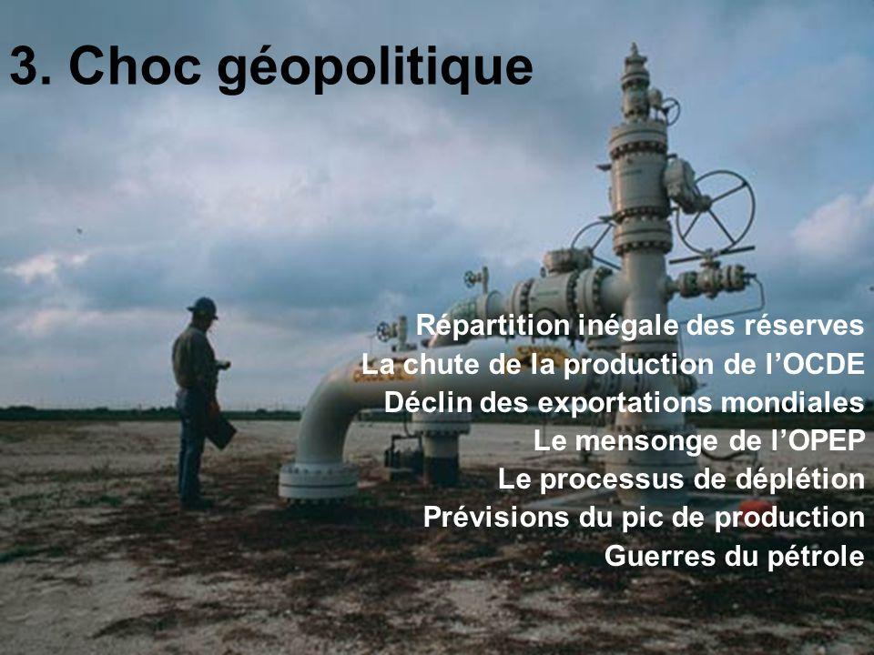 3. Choc géopolitique Répartition inégale des réserves La chute de la production de lOCDE Déclin des exportations mondiales Le mensonge de lOPEP Le pro