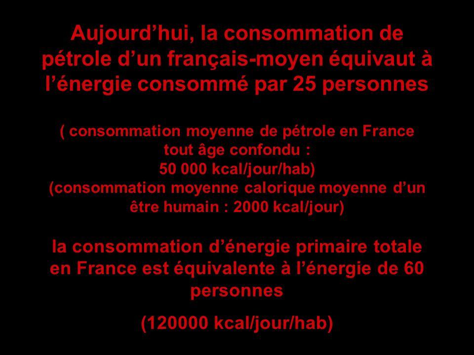 Aujourdhui, la consommation de pétrole dun français-moyen équivaut à lénergie consommé par 25 personnes ( consommation moyenne de pétrole en France to
