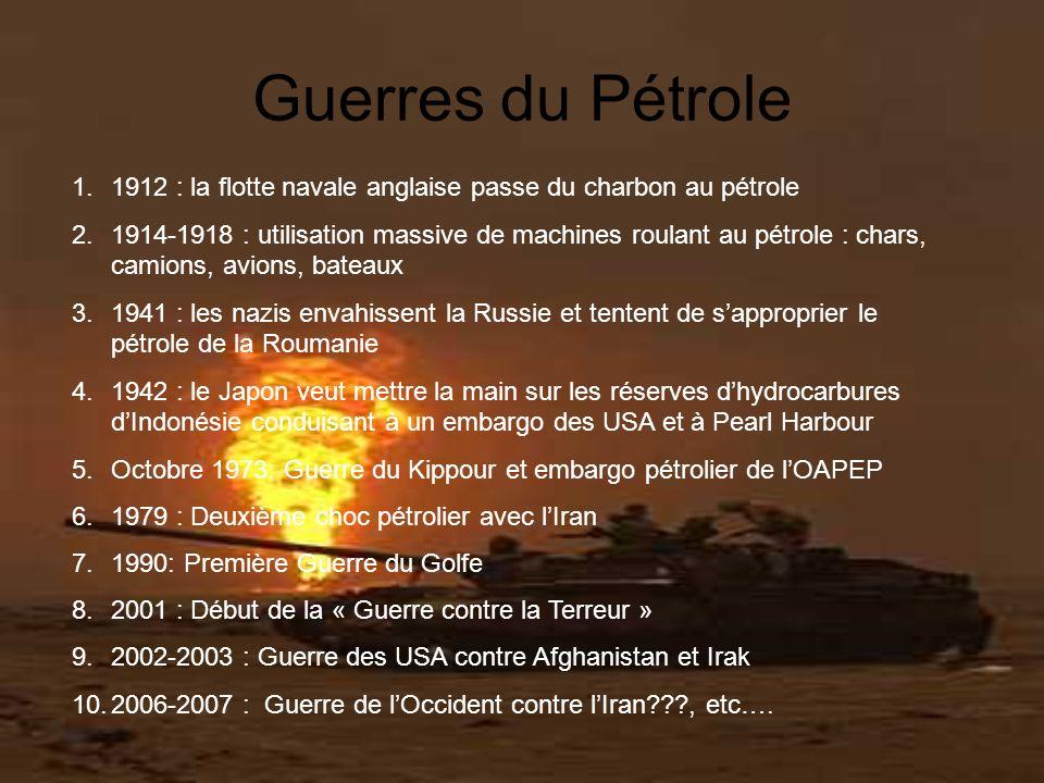 Guerres du Pétrole 1.1912 : la flotte navale anglaise passe du charbon au pétrole 2.1914-1918 : utilisation massive de machines roulant au pétrole : c