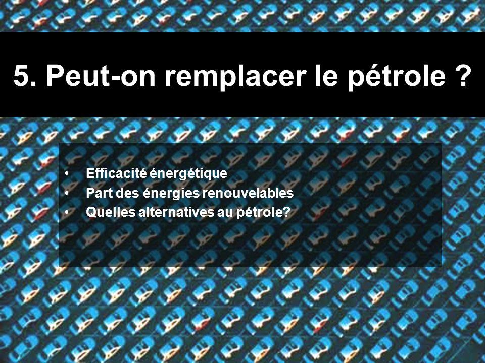 5. Peut-on remplacer le pétrole ? Efficacité énergétique Part des énergies renouvelables Quelles alternatives au pétrole?
