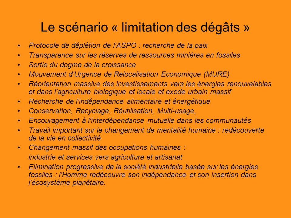 Le scénario « limitation des dégâts » Protocole de déplétion de lASPO : recherche de la paix Transparence sur les réserves de ressources minières en f