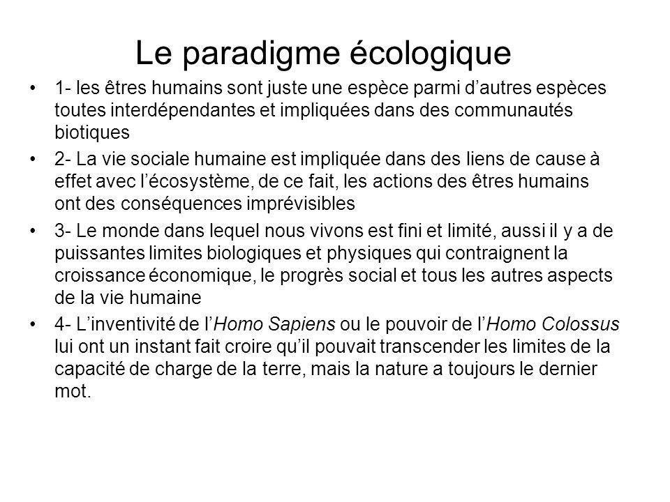 Le paradigme écologique 1- les êtres humains sont juste une espèce parmi dautres espèces toutes interdépendantes et impliquées dans des communautés bi