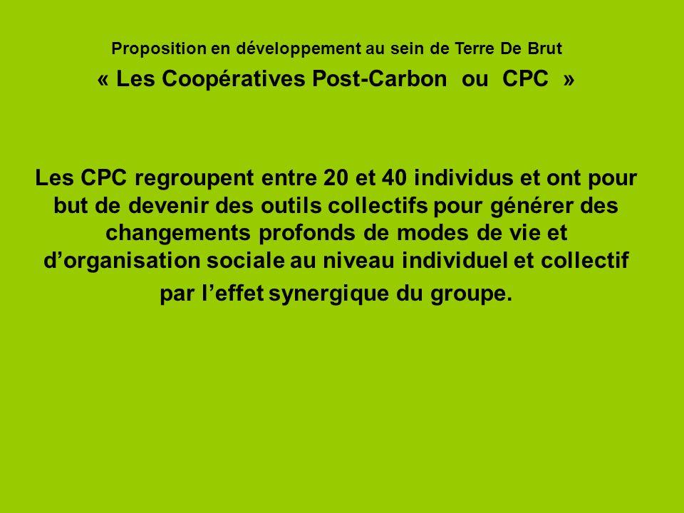 Les CPC regroupent entre 20 et 40 individus et ont pour but de devenir des outils collectifs pour générer des changements profonds de modes de vie et