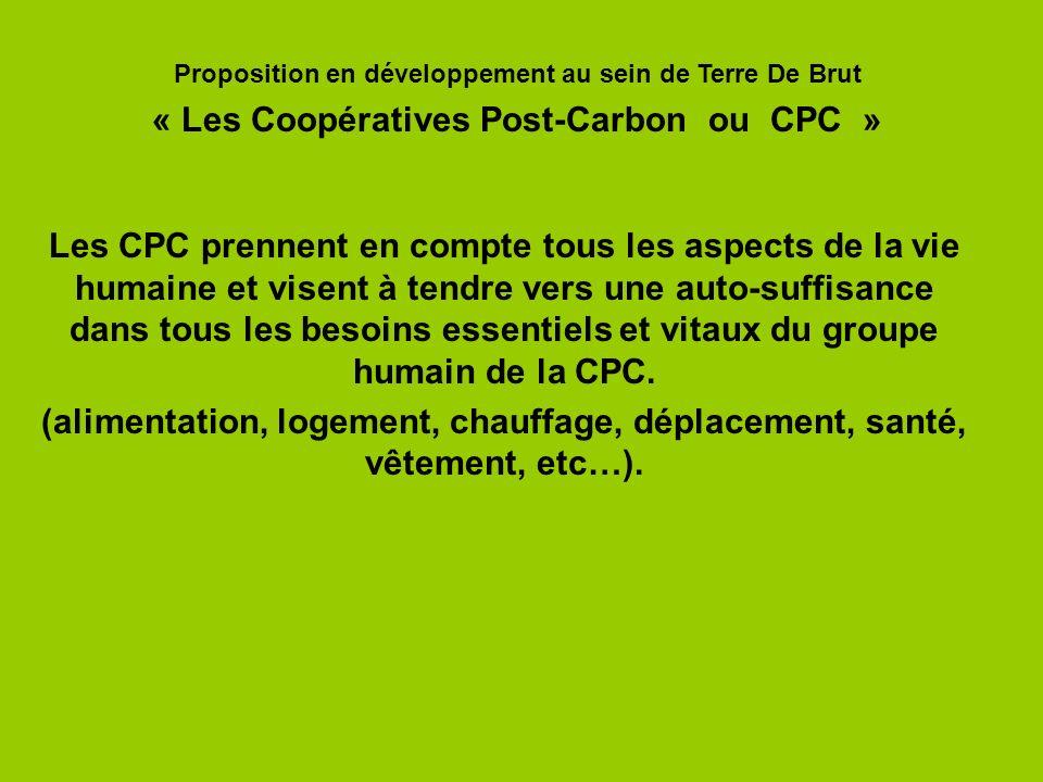 Les CPC prennent en compte tous les aspects de la vie humaine et visent à tendre vers une auto-suffisance dans tous les besoins essentiels et vitaux d