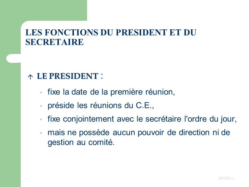 LE BUREAU u Election d'un secrétaire parmi les membres titulaires. u Eventuellement, élection d'un trésorier. ECOCOM