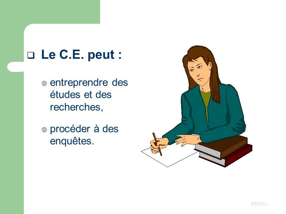 ATTRIBUTIONS Définition (d'après les lois AUROUX de 1982) : Le C.E. a pour objet d'assurer une expression collective des salariés avec une prise en co